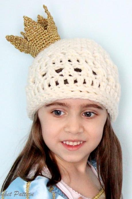 Crochet Queen's Hat Pattern, Newborn-Adult Size, Crochet Princess Hat Crochet Hat Pattern with Crown