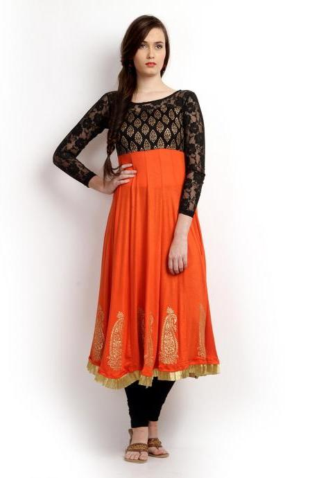 Women Orange & Black Printed Anarkali Kurta