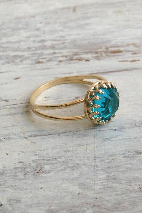 gold ring, blue zircon ring, gold and blue, stacking ring, statement ring, gold stack ring - 5014