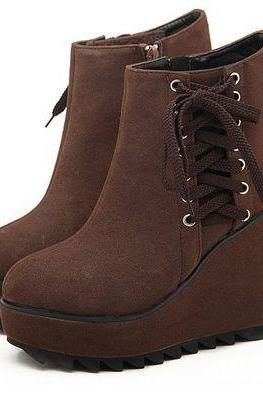 Cute 3 Colors Wedge Heels Ankle Boots