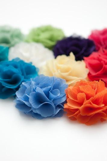 Romantic and elegance Ruffle Chiffon flower hair clip/Brooch