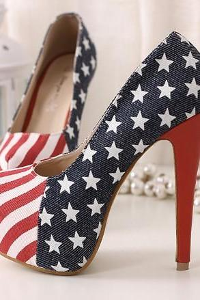 Stars and Stripes High Heel Shoes