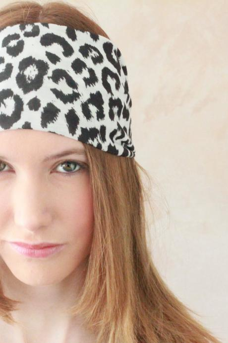 Workout headband, Fabric Headband, Exercise headband, Stretchy Headband, Sweatband, Boho Headband, Hippie Headband, Hairband - White Leopard