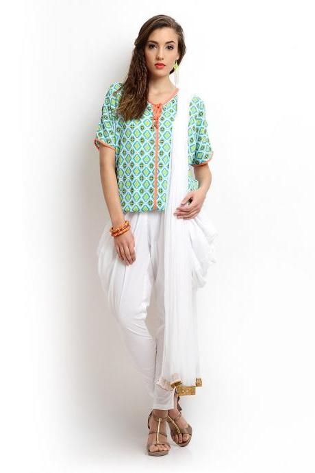 Women White Jodhpuri Pants & Dupatta Set