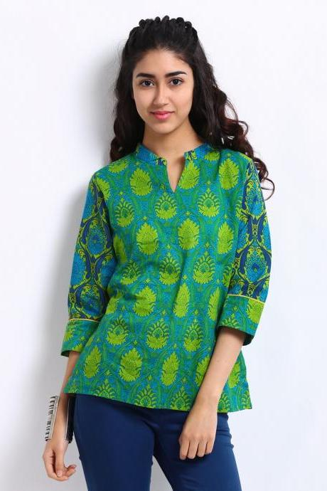 Women Green & Blue Printed Kurti