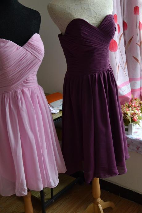 Burgundy bridesmaid dresses/bridesmaid dress/bridesmaid/prom dress/pink dress/wedding/chiffon dress ( color #21)
