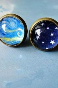 Cool Sky Stars Oil Paiting Earrings