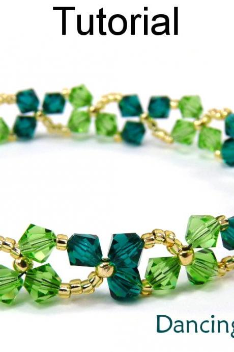 Beading Tutorial Pattern Bracelet Necklace - St. Patrick's Day Jewelry - Simple Bead Patterns - Dancing Clovers #4852