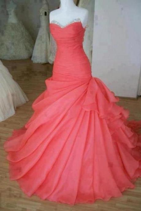 Gorgeous Watermelon Ball Gown Sweep Train Prom Dress/prom dresses, wedding dress, party dresses, Prom Gowns