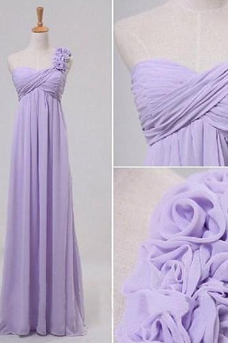 Pretty Lilac A-line One-shoulder Floor Length Prom Dress/Graduation/Bridesmaid Dresses, Prom Dresses 2016