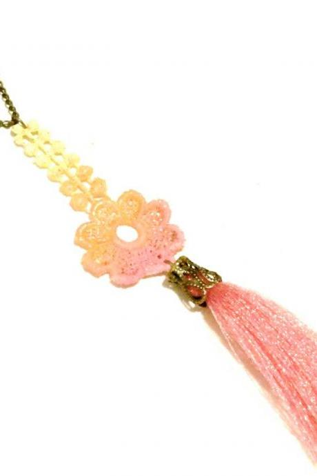 Tassel and Lace Necklace Hand Dyed Flower - Pink Orange Yellow - Customizable Colors - Neon Jewelry
