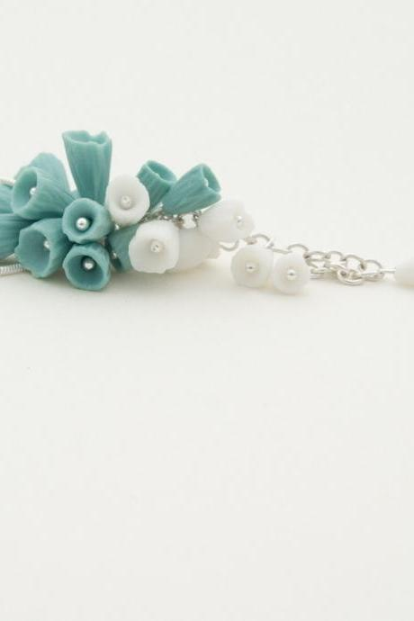 Necklaces For Women , Silver and Porcelain Necklace Lanai ,Turquoise and White