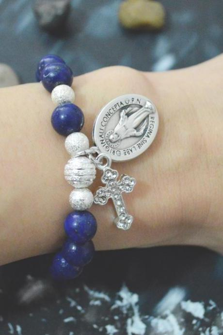 C-138 Rosary bracelet, Stretch bracelet, Lapis Lazuli bracelet, Stone, Cross, Miraculous medal, Silver plated/Everyday jewelry/