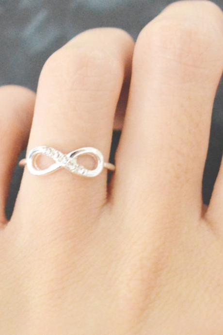 E-053 Infinity ring, Cubic ring, Simple ring, Modern ring, Silver plated ring/Everyday/Gift/