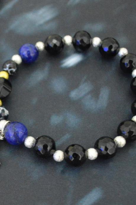 C-150 Rosary bracelet, Stretch bracelet, Stone bracelet, Black Agate,Lapis Lazuli,Beads, Cross, Miraculous star medal/Everyday jewelry/