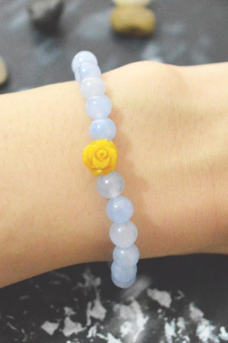 C-132 Rose bracelet, Blue jade, Cabochon bracelet, Stretch bracelet, Stone bracelet, Yellow bracelet, Gold plated/Everyday jewelry/
