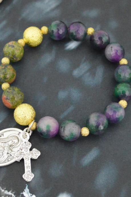 C-153 Rosary bracelet, Stone Bracelet, Stretch bracelet, Purple Rainbow Agate, Unakite, Ball Beads,Cross, Miraculous medal/Everyday jewelry/