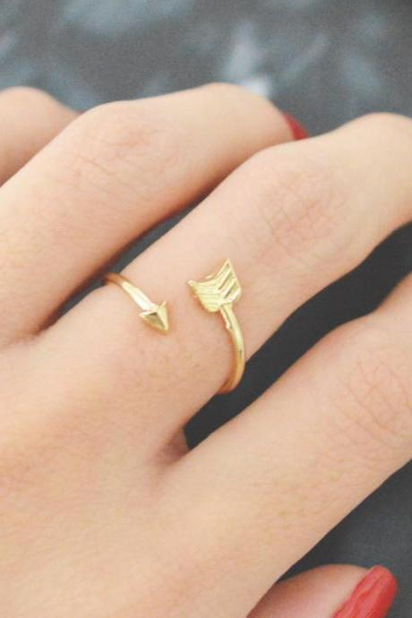 E-057 Arrow ring, Adjustable ring, Stretch ring, Simple ring, Modern ring, Gold plated ring/Everyday/Gift/