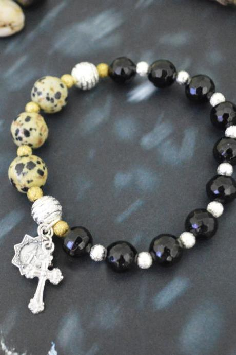 C-145 Rosary bracelet, Stretch bracelet, Stone bracelet, Black Agate, Jasper, Beads, Cross, Virgin Mary, Miraculous medal/Everyday jewelry/
