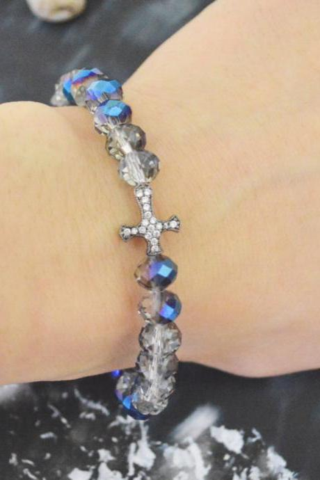 C-146 Rosary bracelet, Stretch bracelet, Rondelle Beads bracelet, Crystal, Blue Rainbow, Cubic, Cross Beads bracelet/Everyday jewelry/