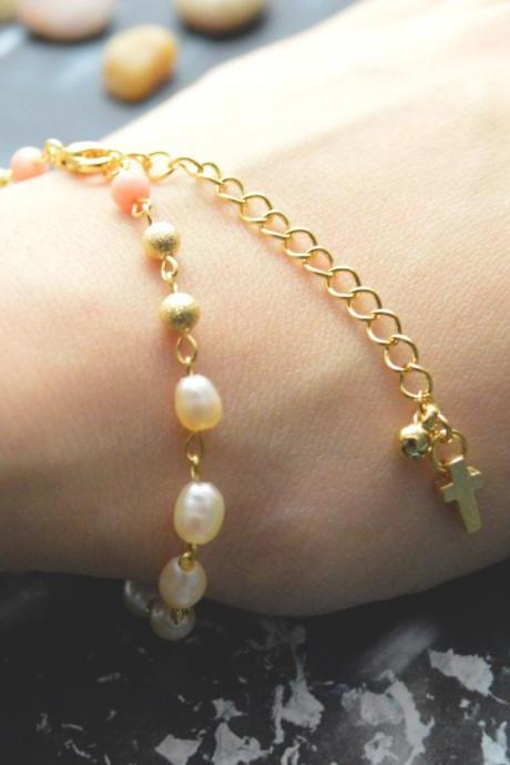 C-078 Rosary bracelet, White pearl bracelet, Stone bracelet, Cross bracelet, Metal beads, Gold plated/Everyday jewelry/