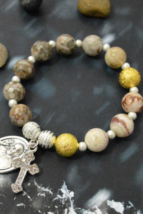 C-137 Rosary bracelet, Stone bracelet, Stretch bracelet,Coral Slider,Mexican agate,Cross,Pope Francis medal, Silver plated/Everyday jewelry/