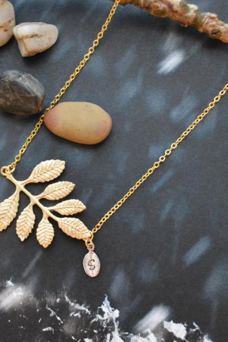 A-167 Leaf necklace, Personalized initial leaf necklace, Hand stamped, Simple necklace, Gold plated chain/Everyday jewelry /Special gift/