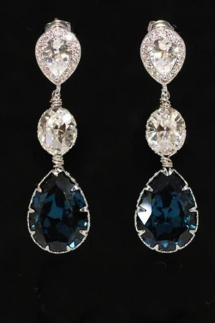 Cubic Zirconia Teardrop Earring with Swarovski Clear Oval and Montana Blue Teardrop Crystals - Wedding Jewelry, Bridal Earrings (E554)