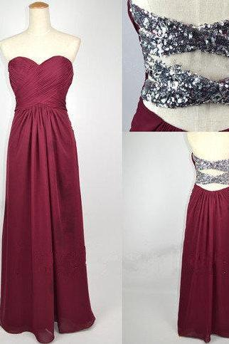 Shiny Burgundy A-line Sweetheart Floor Length Prom Dress