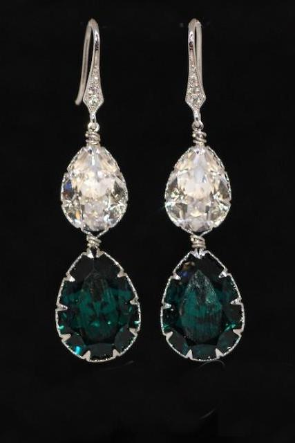 Cubic Zirconia Detailed Earring Hook with Swarovski Clear and Emerald Green Teardrop Crystals - Wedding Jewelry, Bridal Earrings (E557)