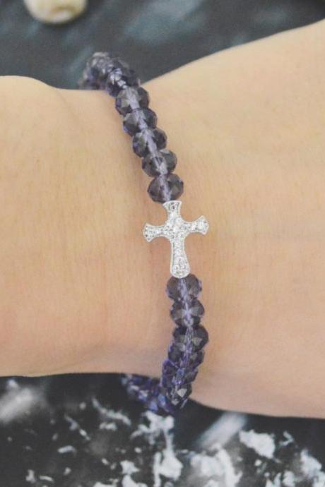 C-147 Rosary bracelet, Crystal, Purple Rondelle Beads bracelet, Stone, Black, Cubic, Cross Beads bracelet/Everyday jewelry/
