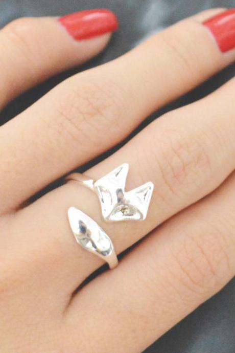 E-061 Fox ring, Adjustable ring, Stretch ring, Simple ring, Modern ring, Silver plated ring/Everyday/Gift/