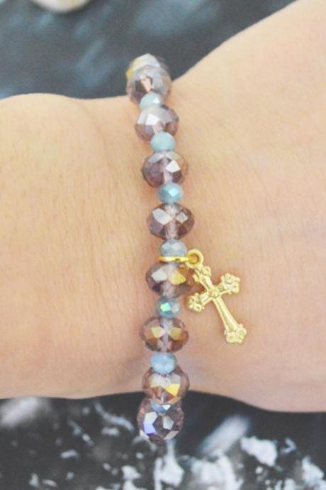 C-144 Rosary bracelet, Crystal, Rhinestone, Aquamarine, Purple beads bracelet, Stone bracelet, Gold plated/Everyday jewelry/