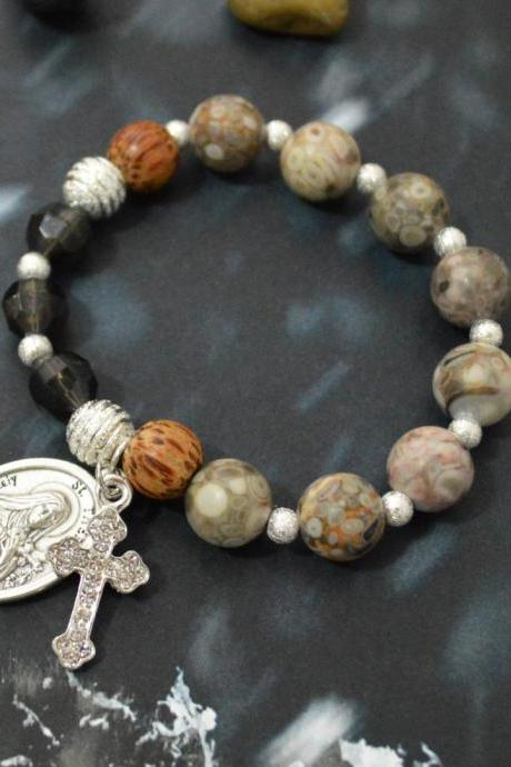 C-135 Rosary bracelet, Stretch bracelet, Black Crystal, Coral Slider, Wood, Stone, Cross, St. Therese medal, Silver plated/Everyday jewelry/