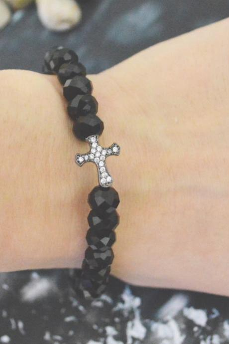 C-148 Rosary bracelet, Crystal, Black Rondelle Beads bracelet, Black, Cubic, Cross Beads bracelet/Everyday jewelry/