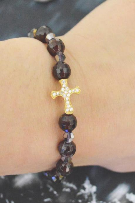 C-149 Rosary bracelet, Stretch bracelet, Stone bracelet, Crystal, Garnet, Cubic, Cross Beads bracelet, Gold Plated/Everyday jewelry/