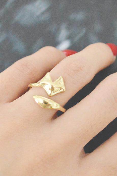 E-060 Fox ring, Adjustable ring, Stretch ring, Simple ring, Modern ring, Gold plated ring/Everyday/Gift/