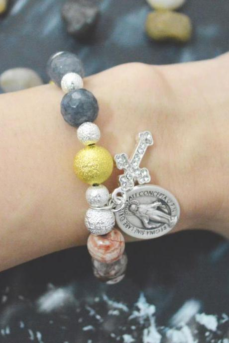 C-134 Rosary bracelet, Stretch bracelet, Stone bracelet,Agate, Coral, Mexican agate bracelet, Cross,Miraculous medal/Everyday jewelry/