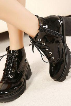 Lace-Up Patent Leather Cleated Ankle Boots with Side Zipper