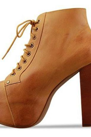 Chic Lace Up Brown Chunky Heel Short Boots