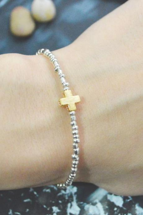 C-121 Silver Beaded bracelet, Seed beads bracelet, cross bracelet, Simple bracelet, Gold plated /Everyday jewelry/