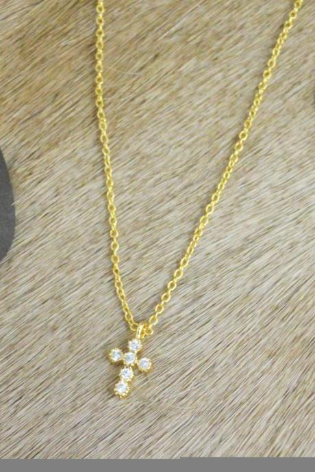 A-188 Cubic cross necklace, Zirconia, Simple Necklace, Modern necklace, Gold plated/ Bridesmaid gifts / Everyday jewelry /