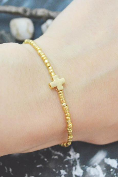 C-120 Gold Beaded bracelet, Seed beads bracelet, Cross bracelet, Simple bracelet, Gold plated /Everyday jewelry/