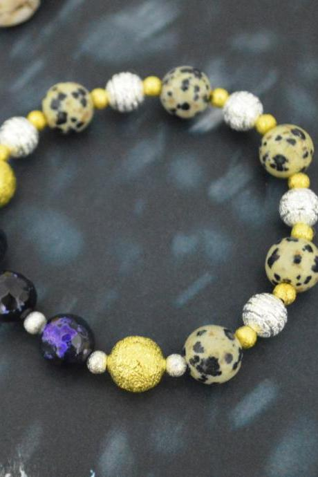 C-152 Stretch bracelet, Stone bracelet, Purple Agate, Jasper bracelet, Ceramic, Zirconia, Beads, Silver, Gold plated/Everyday jewelry/