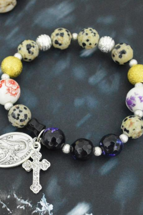 C-151 Rosary bracelet, Stretch bracelet, Stone bracelet, Purple Agate, Jasper bracelet, Cross,St. Therese,Miraculous medal/Everyday jewelry/