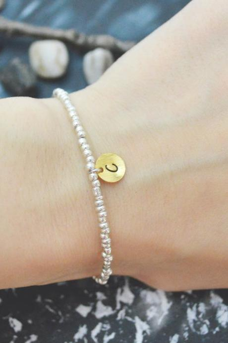 C-117 Silver Beaded bracelet,Seed beads bracelet,Personalized personal initial disc bracelet,Simple bracelet,Silver plated/Everyday jewelry/