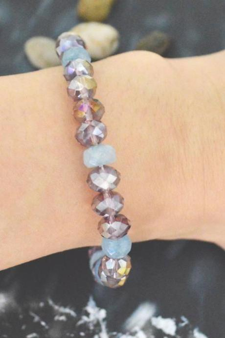 C-142 Stretch bracelet, Crystal bracelet, Rhinestone, Aquamarine, Purple beads bracelet, Stone bracelet/Everyday jewelry/