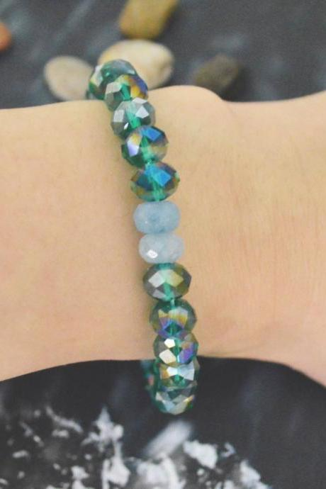 C-141 Stretch bracelet, Crystal bracelet, Rhinestone, Aquamarine, Blue green bracelet, Stone bracelet/Everyday jewelry/