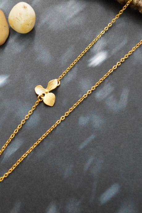 A-182 Sideways Necklace, Orchid, Flower necklace, Asymmetrical, Unbalanced, Simple necklace, Gold plated/Everyday jewelry /Special gift/