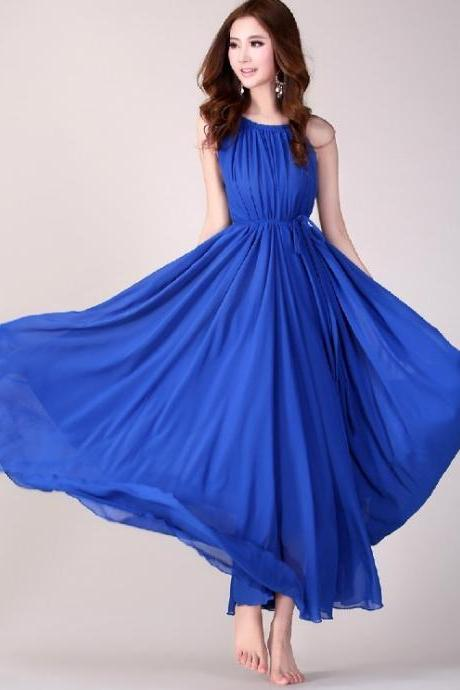 Royal Blue Long Evening Wedding Party Dress Lightweight Sundress Plus Size Summer Dress Holiday Beach Dress Bridesmaid dress Long Prom Dress